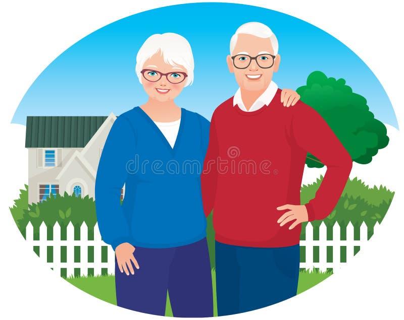 O marido e a esposa idosos estão em seu agregado familiar ilustração royalty free