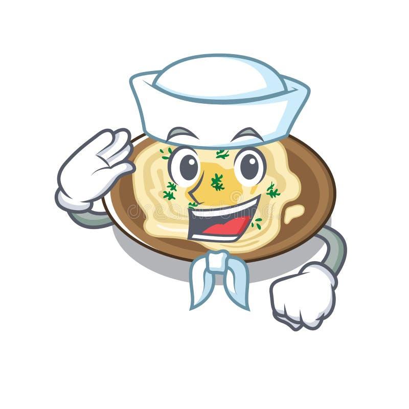 O marinheiro é cozido em uma frigideira ilustração royalty free