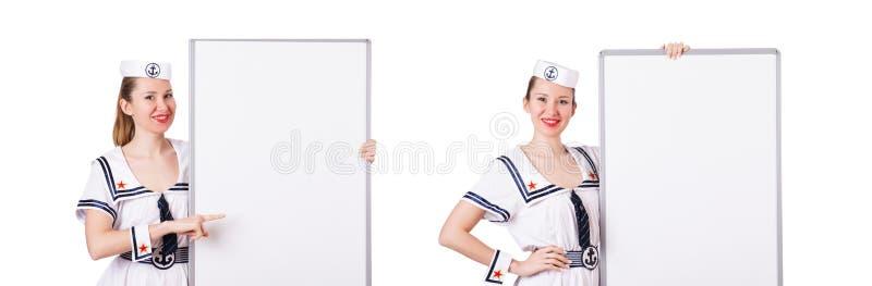 O marinheiro da mulher com placa vazia no branco foto de stock royalty free
