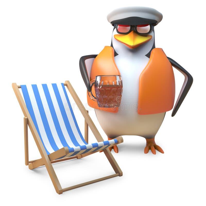 O marinheiro náutico do pinguim no colete salva-vidas e no tampão de marinheiros bebe uma pinta da cerveja perto do deckchair, il ilustração do vetor