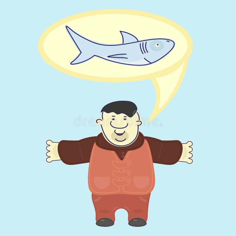 O marinheiro satisfeito vangloria-se sobre o tamanho do tubarão travado ilustração stock