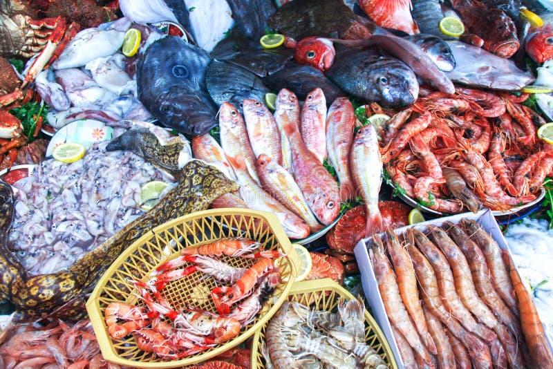 O marisco fresco para o mercado de Essaouira Marrocos fotografia de stock