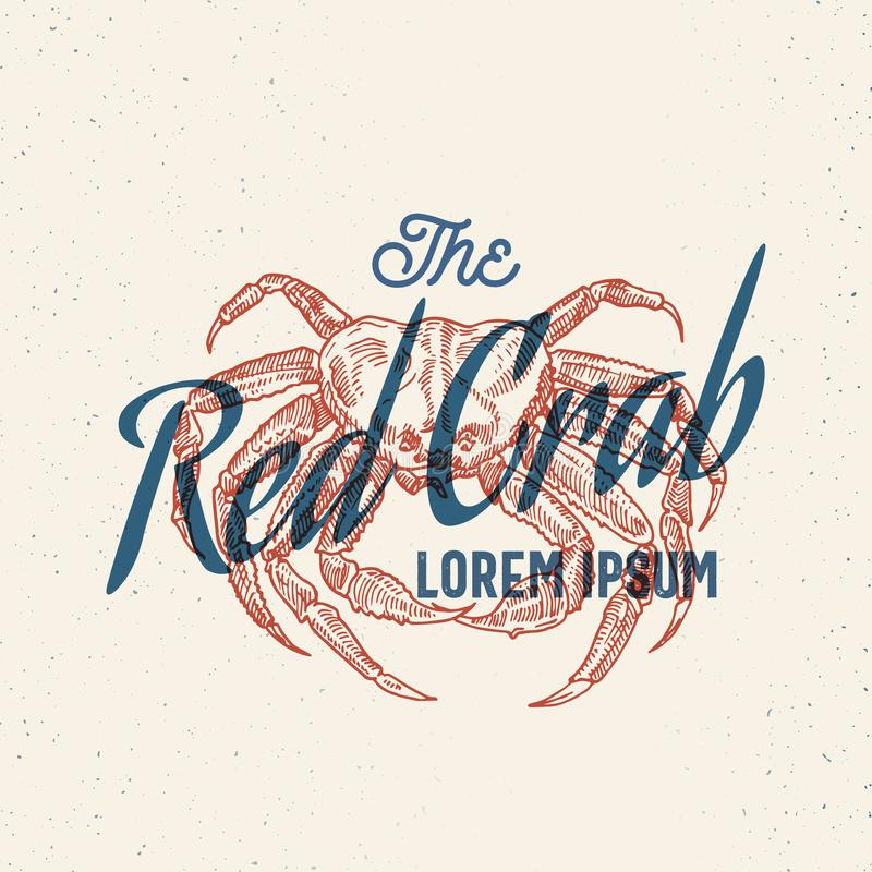 O marisco vermelho do caranguejo r Sinal, símbolo ou Logo Template abstrato do vetor Caranguejo desenhado mão ilustração stock