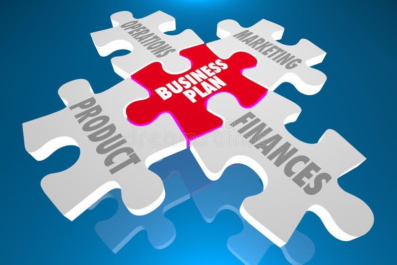 O marketing de produto do plano de negócios financia o enigma ilustração do vetor