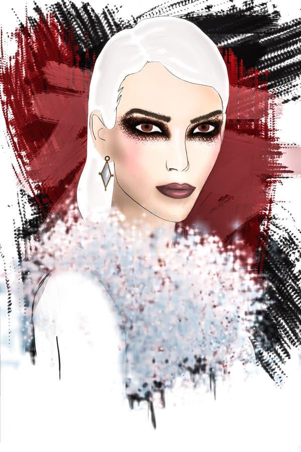 O marrom bonito eyes a mulher ilustração do vetor