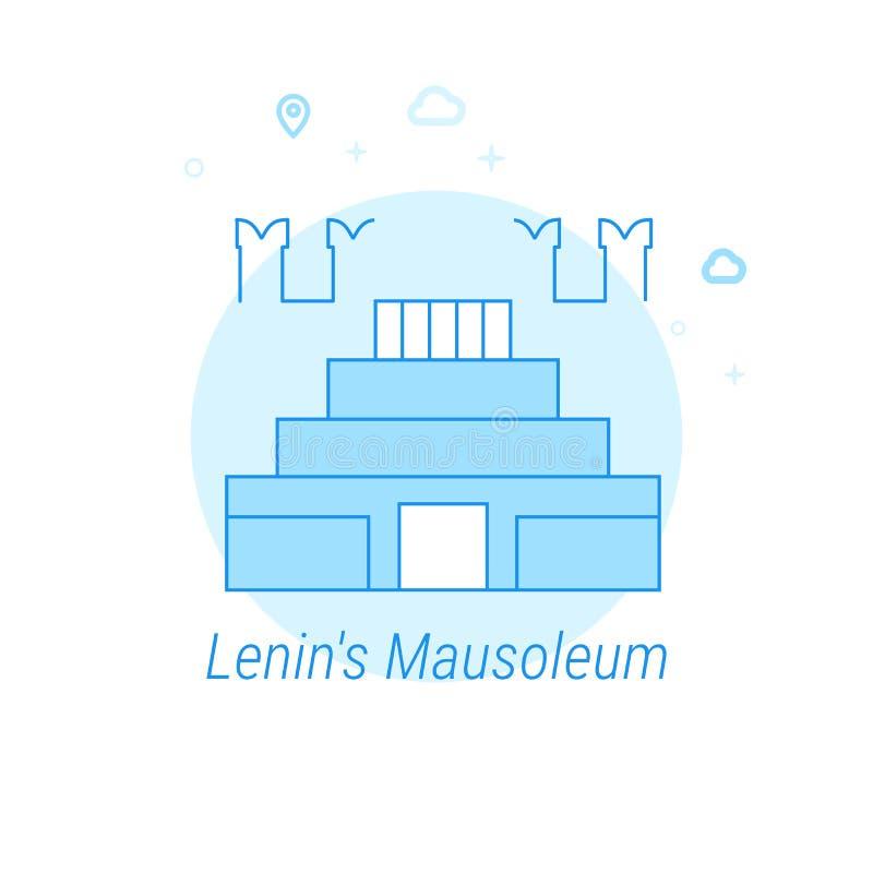 O mausoléu de Lenin, ilustração lisa do vetor de Moscou, ícone Claro - projeto monocromático azul Curso editável ilustração royalty free