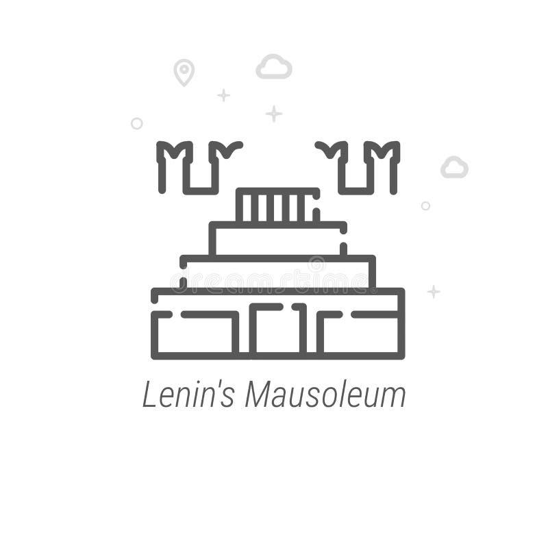 O mausoléu de Lenin, linha ícone do vetor de Moscou, símbolo, pictograma, sinal Geométrico abstrato Curso editável ilustração stock
