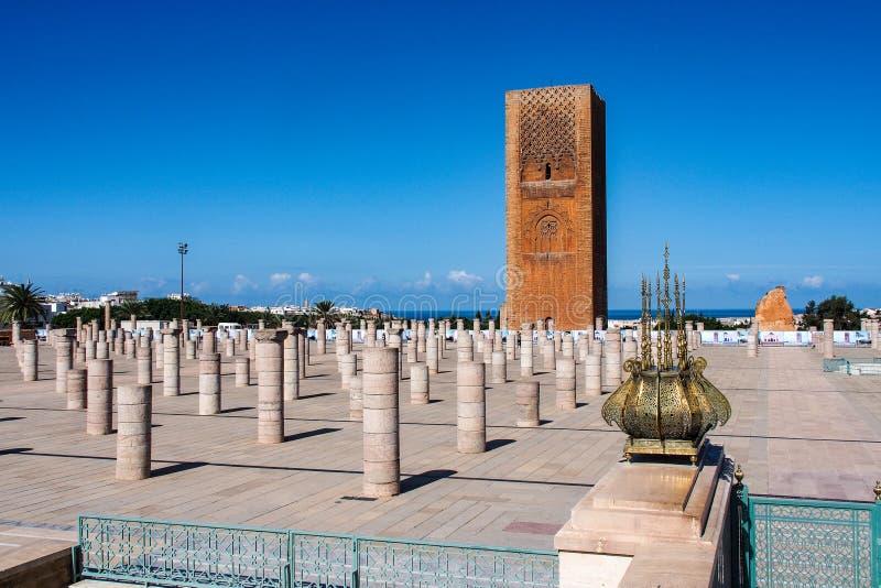O mausoléu de Mohammed V em Rabat, Marrocos fotos de stock