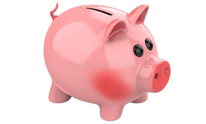 O mealheiro cor-de-rosa do porco isolado no fundo branco, 3d rende ilustração stock