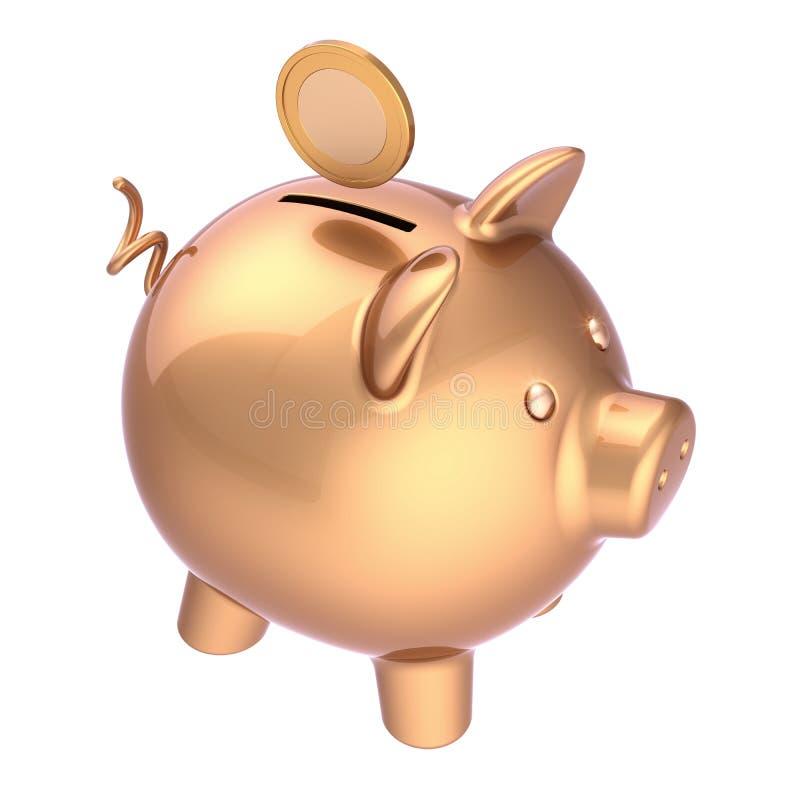 O mealheiro e a moeda dourados investem o símbolo rico salvar o dinheiro ilustração royalty free