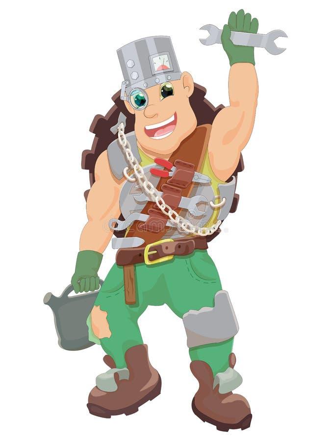 O mecânico alegre é armado com as ferramentas e está pronto para trabalhar foto de stock royalty free