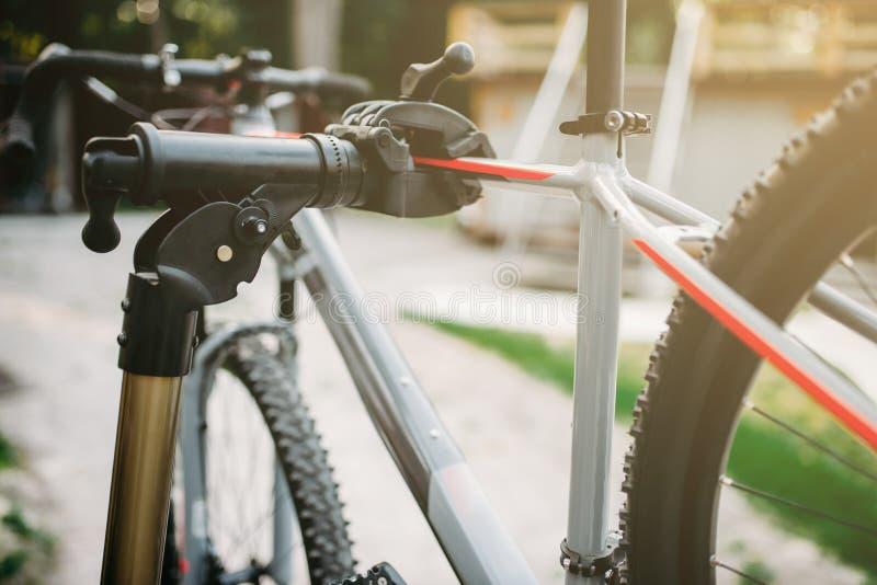 O mecânico da bicicleta no avental ajusta raios da bicicleta fotos de stock royalty free