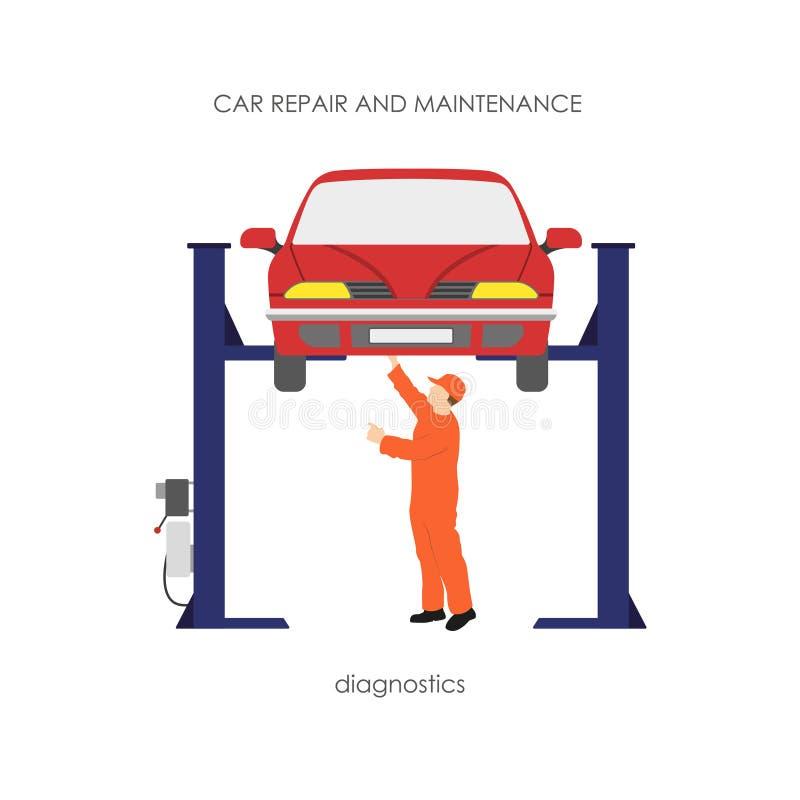 O mecânico produz diagnósticos do veículo O carro no ra de levantamento ilustração royalty free