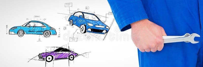O mecânico que guarda a chave com esboço dos carros entrega o desenho imagens de stock royalty free