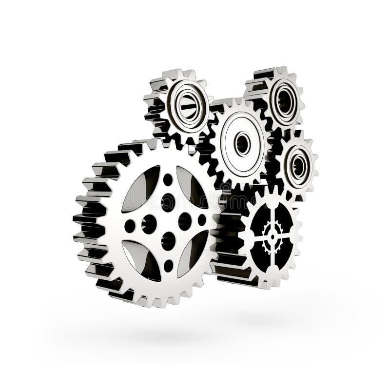 O mecanismo. Engrenagem 3d. ilustração do vetor