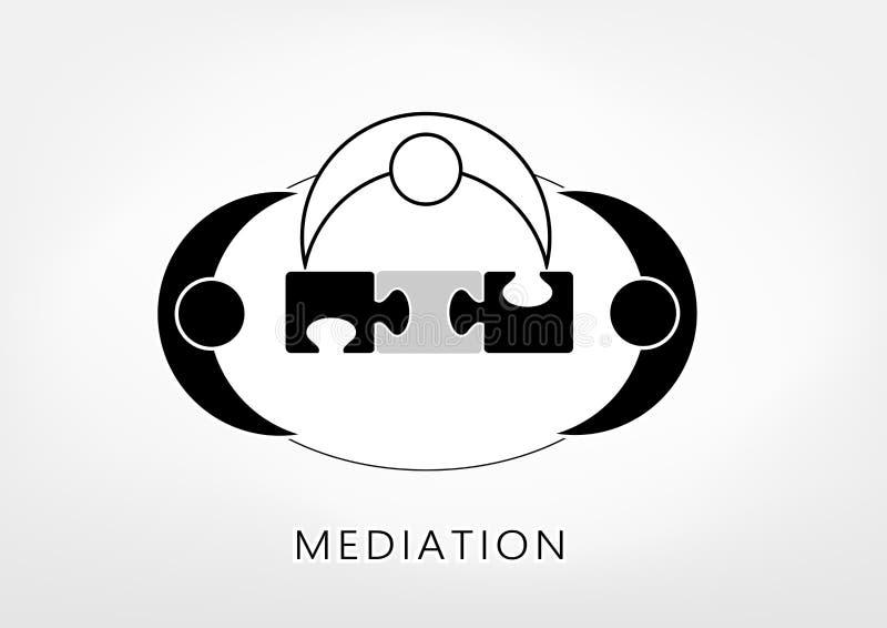 O mediador e duas pessoas adicionam acima partes do enigma em claro - fundo cinzento, vista superior, ilustração do vetor, horizo ilustração royalty free
