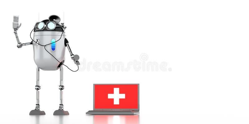 O medik 3d do robô rende ilustração stock