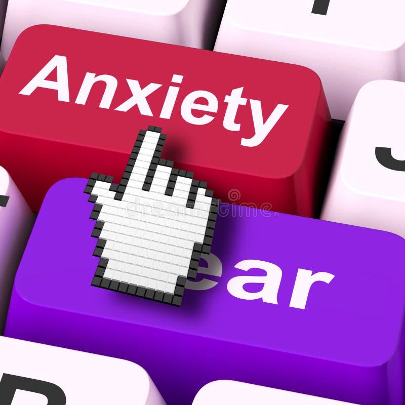 O medo da ansiedade fecha os meios do rato ansiosos e receosos ilustração royalty free