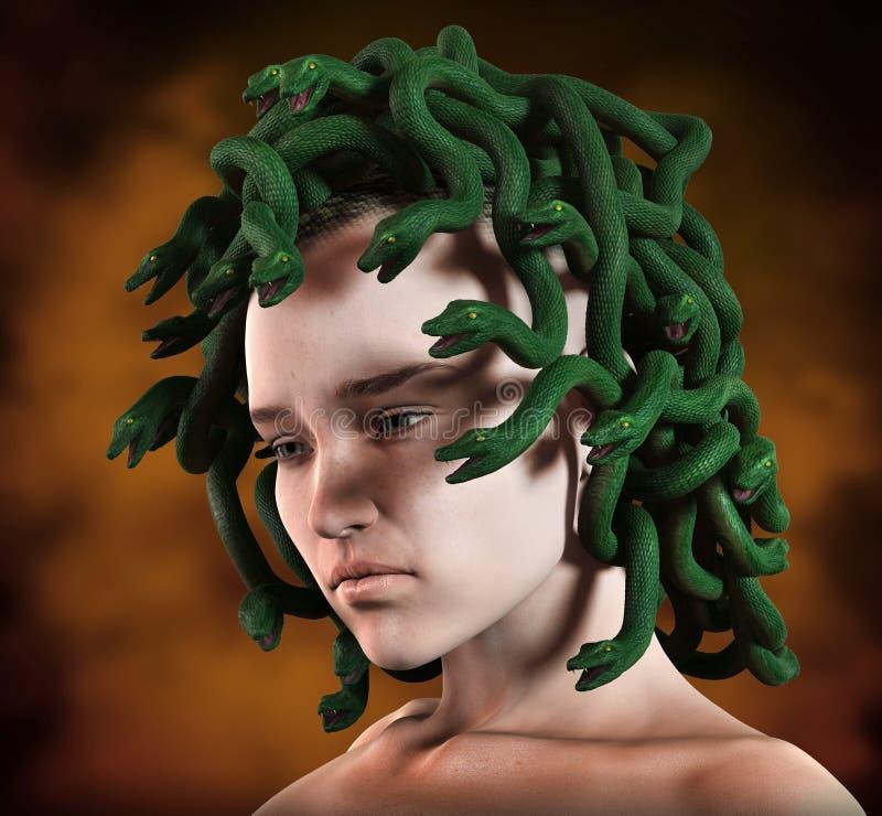 O Medusa serpenteia a cabeça ilustração do vetor