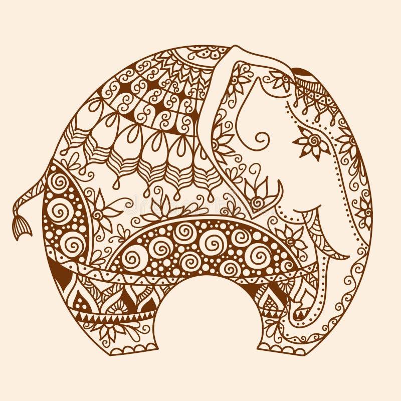 O mehndi da hena do vetor decorou o elefante indiano ilustração royalty free