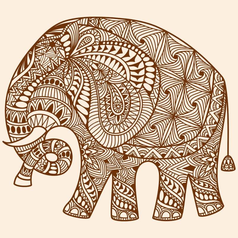 O mehndi da hena do vetor decorou o elefante indiano ilustração stock