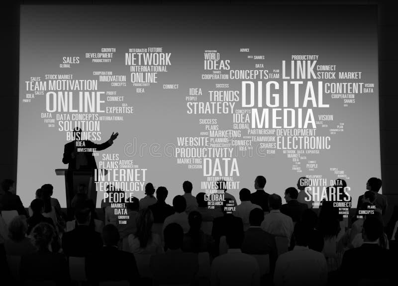 O meio de Digitas compartilha do conceito dos planos da relação do investimento do Internet fotografia de stock royalty free