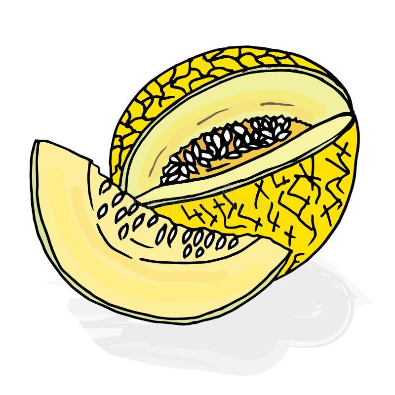 O melão da garatuja cortou o amarelo pintado imagens de stock royalty free