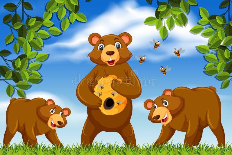 O mel carrega na cena da selva ilustração do vetor
