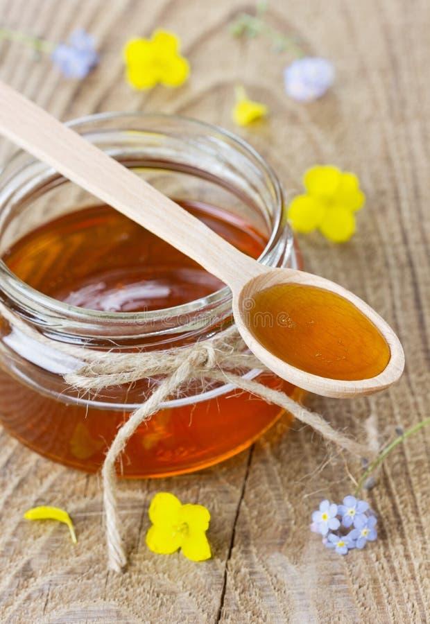 O mel em uma colher e em um frasco decorou flores do miosótis fotos de stock