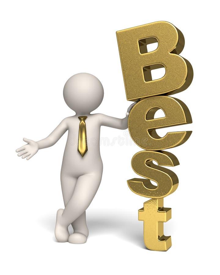 O melhor ícone do texto - ouro - homem de negócio 3d ilustração stock
