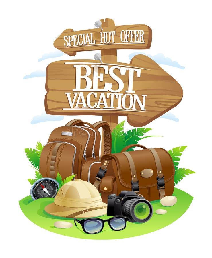 O melhor cartaz das férias, projeto quente especial da propaganda do curso da oferta ilustração stock