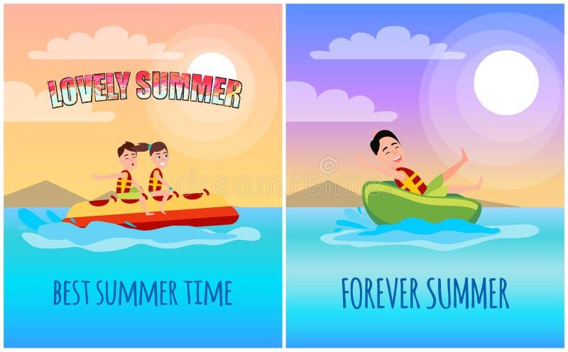 O melhor cartaz das horas de verão, ilustração dos desenhos animados ilustração stock