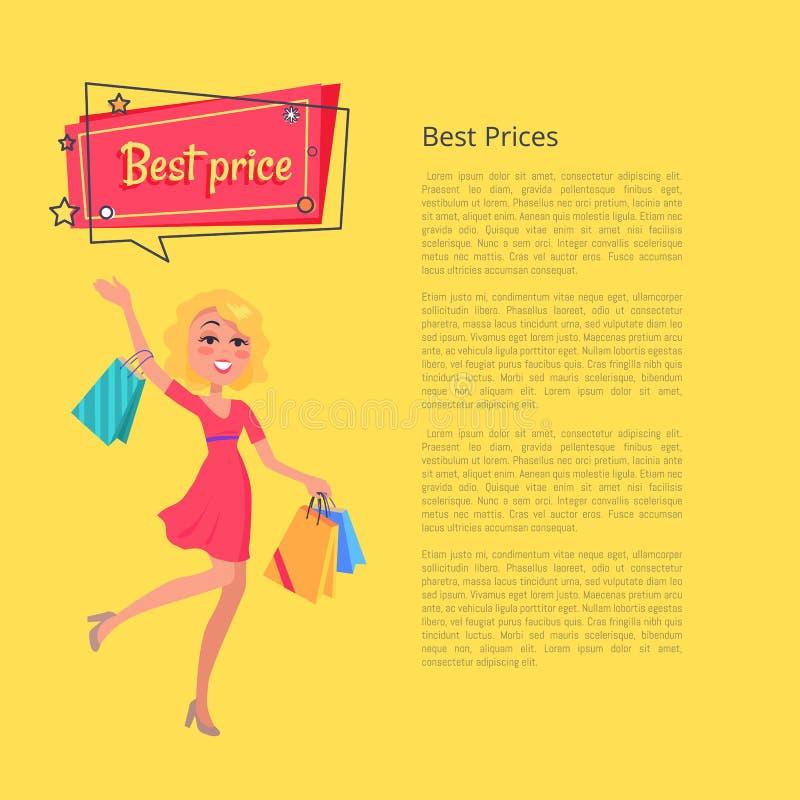 O melhor cartaz dos preços com lugar para o texto e a mulher ilustração royalty free