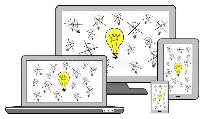 O melhor conceito da ideia em dispositivos diferentes ilustração royalty free