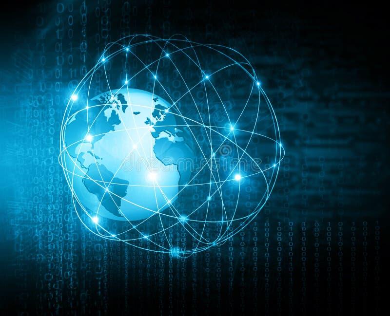 O melhor conceito do Internet do negócio global Globo, linhas de incandescência no fundo tecnologico Wi-Fi, raios, símbolos ilustração do vetor