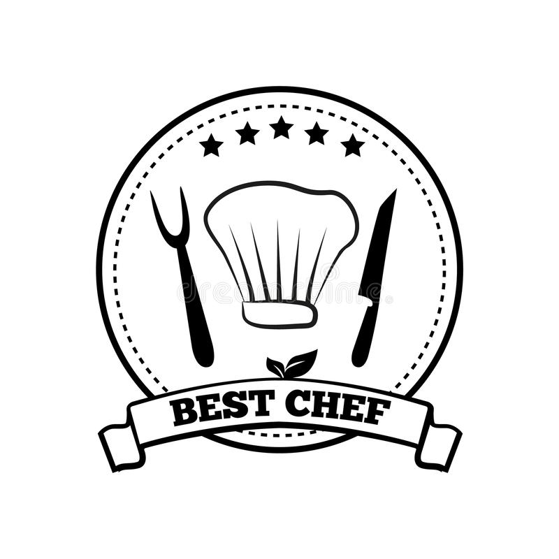 O melhor cozinheiro chefe Monochrome Round Emblem com cinco estrelas ilustração stock