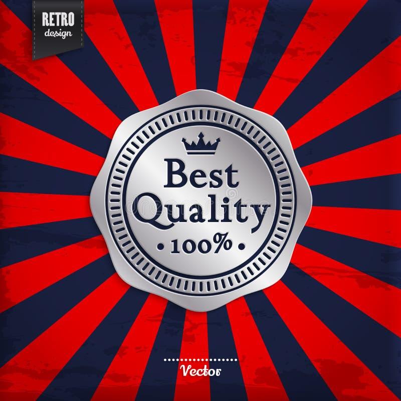 O melhor crachá da prata da qualidade no sol irradia o fundo Promoção do produto Vetor ilustração stock
