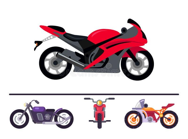 O melhor esporte à moda e motocicletas clássicas ajustados ilustração do vetor