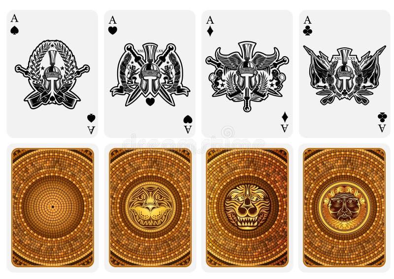 O melhor grupo de quatro ás do cartão com caras e partes traseiras diferentes no estilo de greece ilustração royalty free