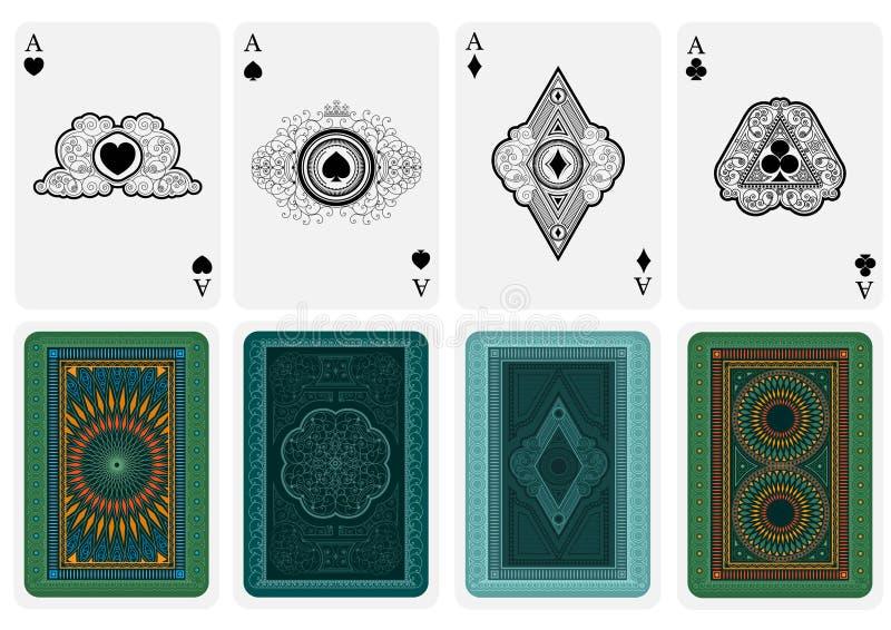 O melhor grupo de quatro ás do cartão com os ternos diferentes das caras e das partes traseiras no branco ilustração stock