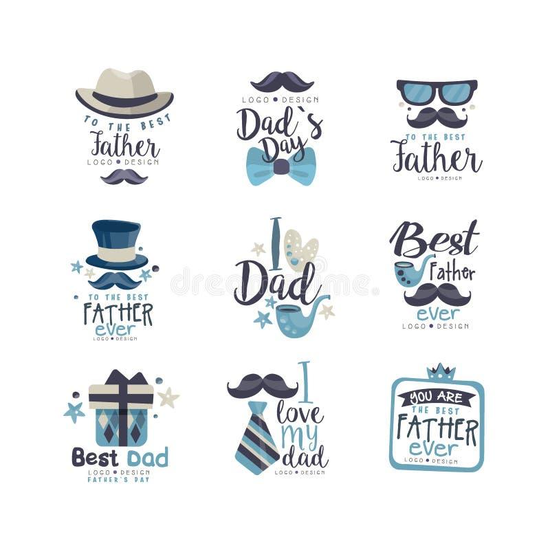 O melhor grupo do projeto do logotipo do paizinho, etiquetas criativas felizes do dia de pais para a bandeira, cartaz, cartão, ca ilustração stock