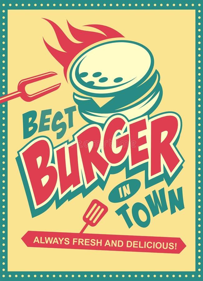 O melhor hamburguer no projeto retro do cartaz da cidade com o hamburguer saboroso no fundo amarelo ilustração stock