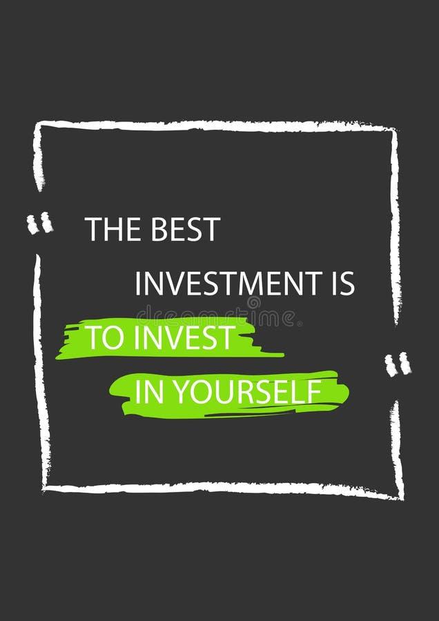 O melhor investimento é investir no senhor mesmo Citações da motivação ilustração royalty free