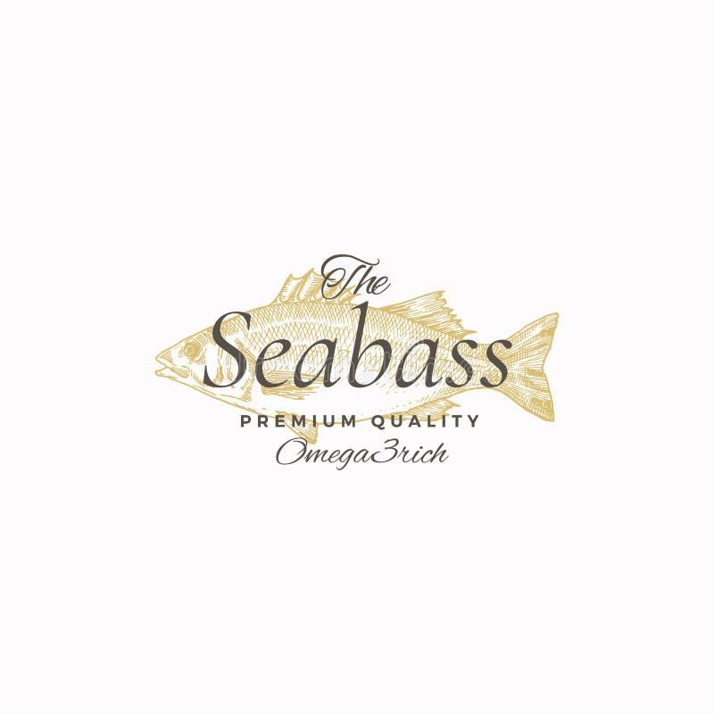 O melhor mar Bass Abstract Vetora Sign, símbolo ou Logo Template Esboço de tiragem dos peixes elegantes do Seabass com retro eleg ilustração royalty free