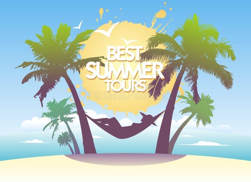 O melhor molde do projeto da excursão do verão. ilustração royalty free