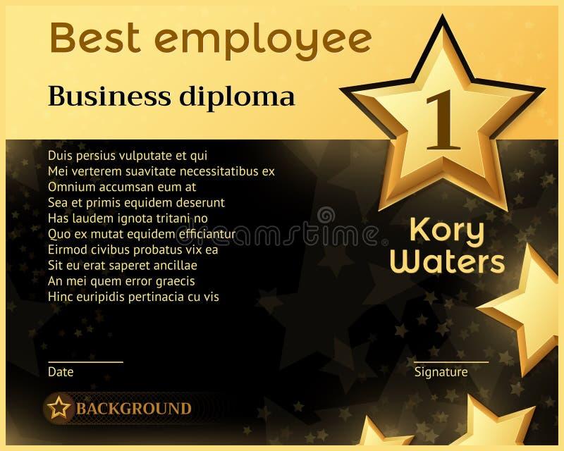 O melhor molde mensal do vetor da concessão do reconhecimento do diploma do negócio do empregado ilustração do vetor