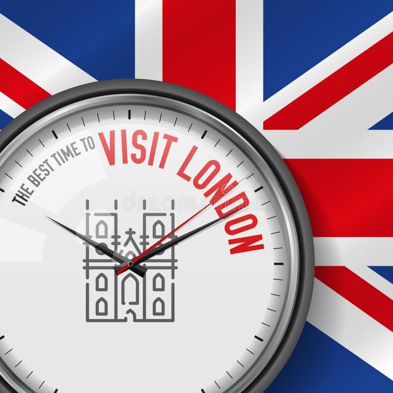 O melhor momento para a visita Londres Pulso de disparo do vetor com slogan Fundo britânico da bandeira Relógio análogo Westminst ilustração stock