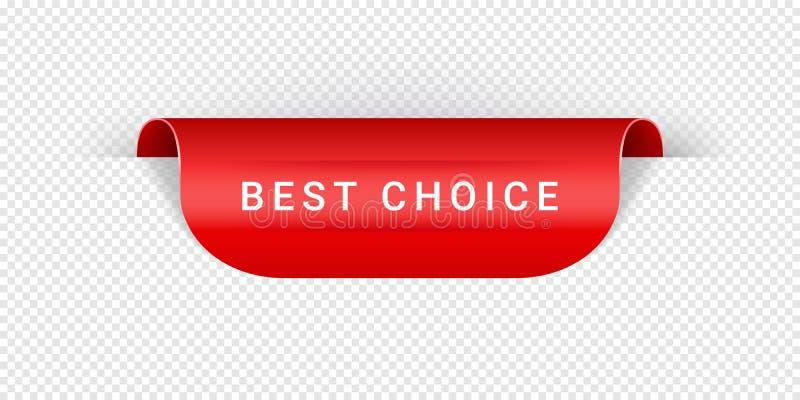 O melhor origâmi vermelho realístico bem escolhido da etiqueta, da etiqueta, da bandeira, da etiqueta, do sinal ou da fita do vet ilustração royalty free
