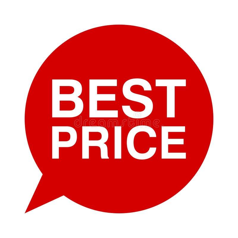 O melhor preço, bolha do discurso ilustração stock