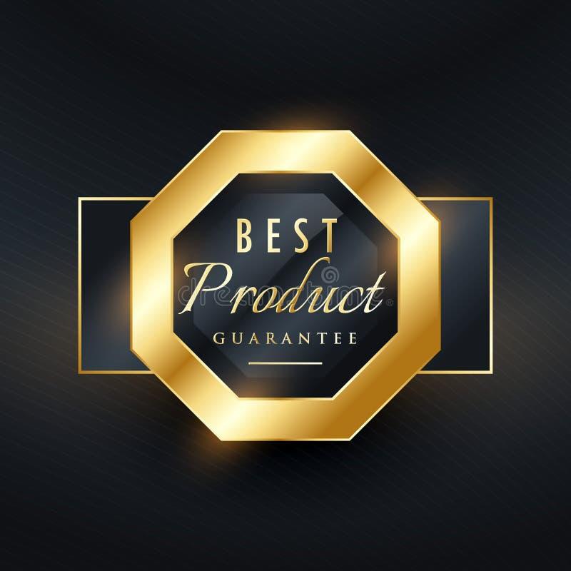 O melhor projeto da etiqueta do selo dourado da garantia do produto ilustração royalty free